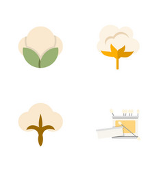Flat icon cotton set of fluffy flower fiber and vector