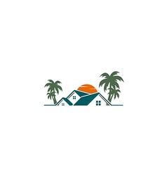 house villa resort palm tree logo vector image