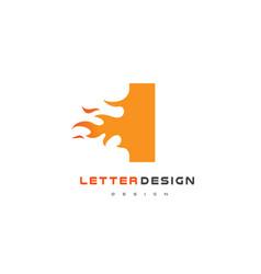 i letter flame logo design fire logo lettering vector image vector image