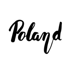 poland hand lettering isolated on white vector image