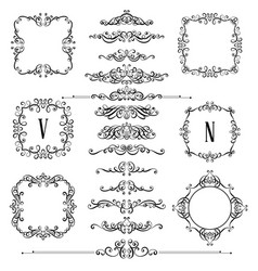 set of vintage calligraphic frames and flourishes vector image