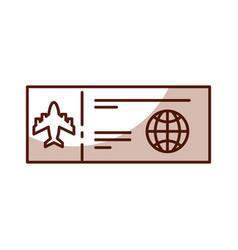 Shadow airplane ticket cartoon vector