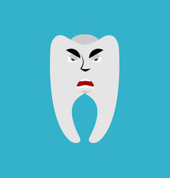 Tooth angry emoji teeth grumpy emotion isolated vector