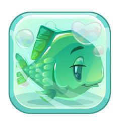 cartoon green fish behind the glass vector image vector image