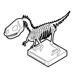 Dinosaur skeleton icon outline style vector
