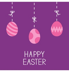 Happy Easter Hanging painted eggs Dash line with vector image vector image