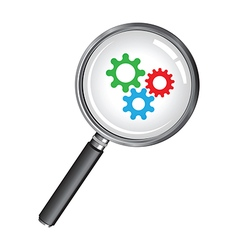 magnifying glass cogs vector image vector image