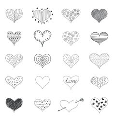 Sketch Romantic Love Hearts Retro Doodles Icons vector image vector image