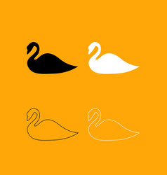 swan set black and white icon vector image