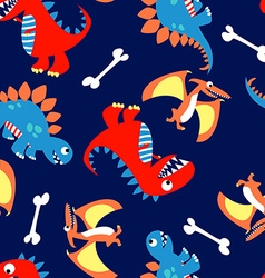 3 Cute dinosaurs in a seamless pattern vector image vector image