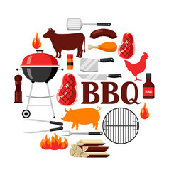 bbq background with grill objects and icons vector image vector image
