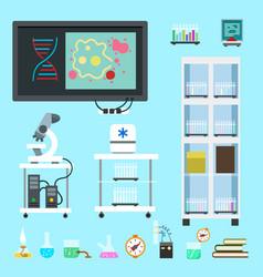 flat chemistry lab equipment set vector image
