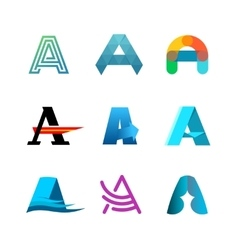 Letter A logo set Color icon templates design vector image vector image
