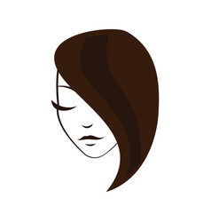women face with straight hair vector image
