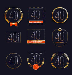 40 years anniversary logo set vector image