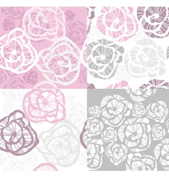 abstract seamless flower rose pattern set vector image