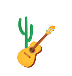 acoustic guitar and cactus string instruments vector image
