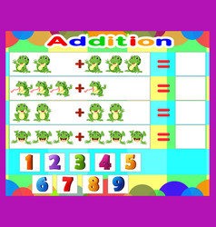 additional game frog cartoon math educational game vector image