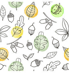 autumn seamless pattern with oak leaves vector image