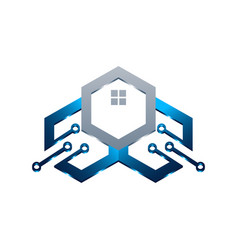 basic this logo is house and circuit this logo vector image