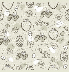 Beige seamless patterns with strawberry vector