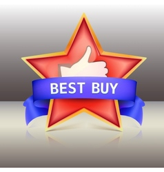 Best buy label with red star and ribbons vector image