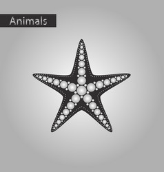 black and white style icon of starfish vector image