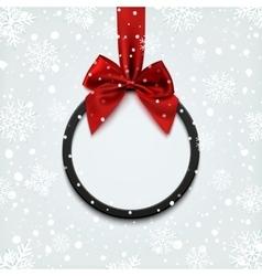 Blank black round banner on winter background vector image