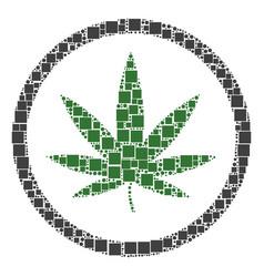 Cannabis mosaic of squares and circles vector