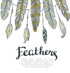 Card with colorful feathers Beautiful hand-drawn vector image