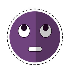 cartoon eye rolling emoticon funny icon vector image