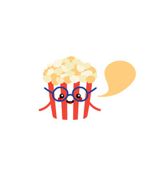 cartoon popcorn cup character with speech bubble vector image