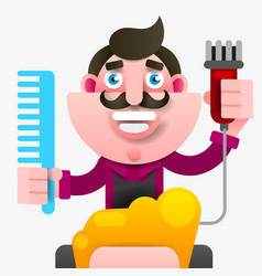 cartoon successful hairdresser in an apron with a vector image