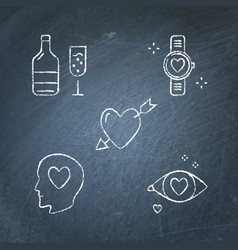 chalkboard valentine day icon set in line style vector image