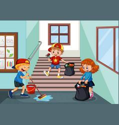 children cleaning school hallway vector image