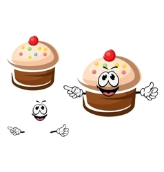 Chocolate cupcake with cream and sprinkles vector image