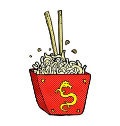 Comic cartoon noodles in box vector
