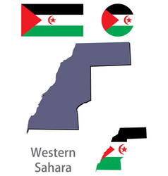 Country western sahara silhouette and flag vector