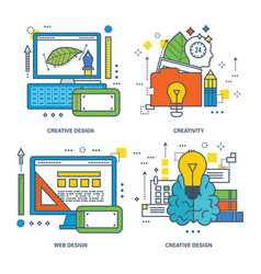 Creative design brain training innovation web vector