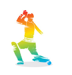 Cricket player ready hit shot design vector