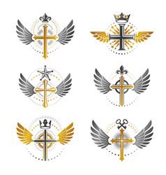Crosses of christianity emblems set heraldic vector