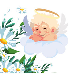 Cupid angel sleeping on a cloud valentines day vector