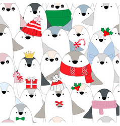 Cute celebrated bapenguin seamless pattern vector