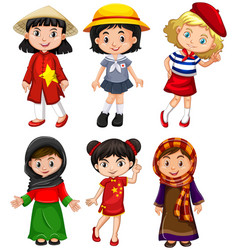 Cute girls from different countries vector