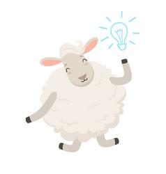 Cute white sheep character having a good idea vector