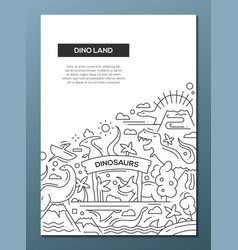 dinoland - line design brochure poster template a4 vector image