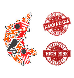 Disaster collage of mosaic map of karnataka state vector