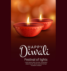 diya lamps indian diwali light festival vector image
