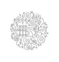 Doodle trumpet coloring page vector