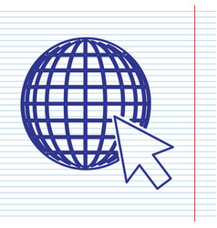 earth globe with cursor navy line icon on vector image